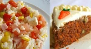 Ensalada de arroz y pastel de zanahoria