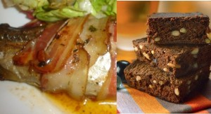 Trucha con almedras y bacon /  Brownie de café