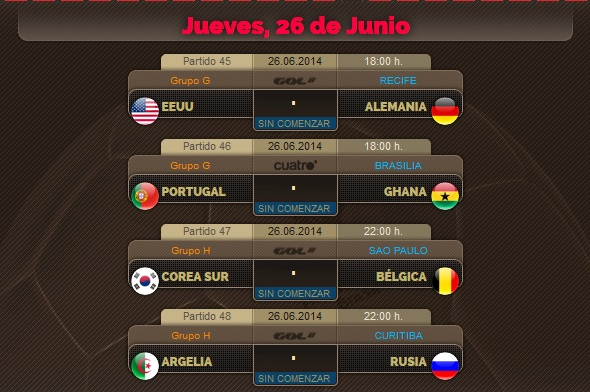 Porra del Mundial, partidos del Jueves 26 de Junio