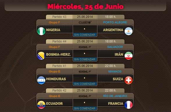 Porra del Mundial, partidos del Miércoles 25 de Junio