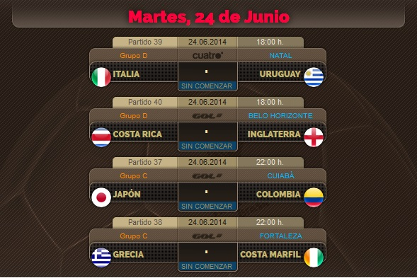 Porra del Mundial, partidos del Martes 24 de Junio