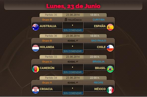 Porra del Mundial, partidos del Lunes 23 de Junio