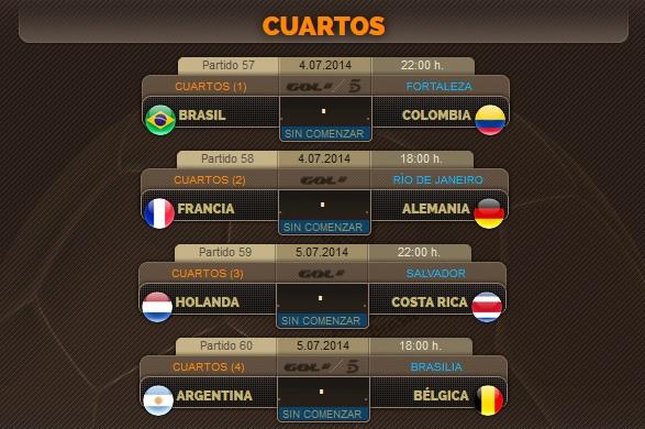 Porra del Mundial: Cuartos de final (4 y 5 de Julio)