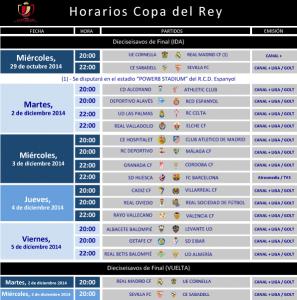 Horario para la ida de los dieciseisavos de Copa del Rey