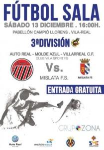 Mañana a las 16:00: fútbol sala, sorpresas y regalos en el Auto Real – Molde Azul – VillarrealCF vs Mislata