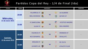 Horario para los Cuartos de Final de Copa del Rey