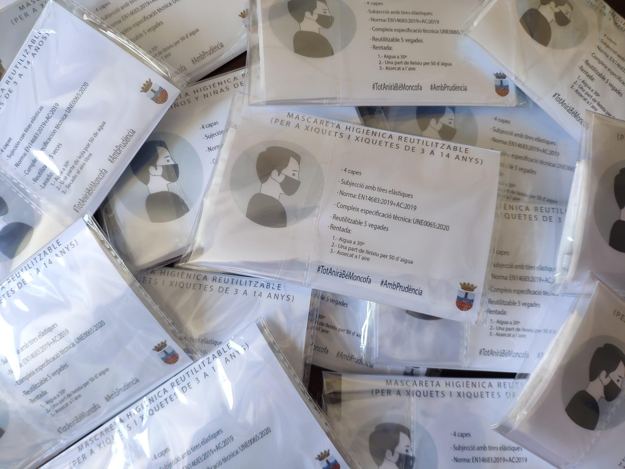 Moncofa distribuirá 2 mascarillas reutilizables a los niños de 3 a 14 años empadronados