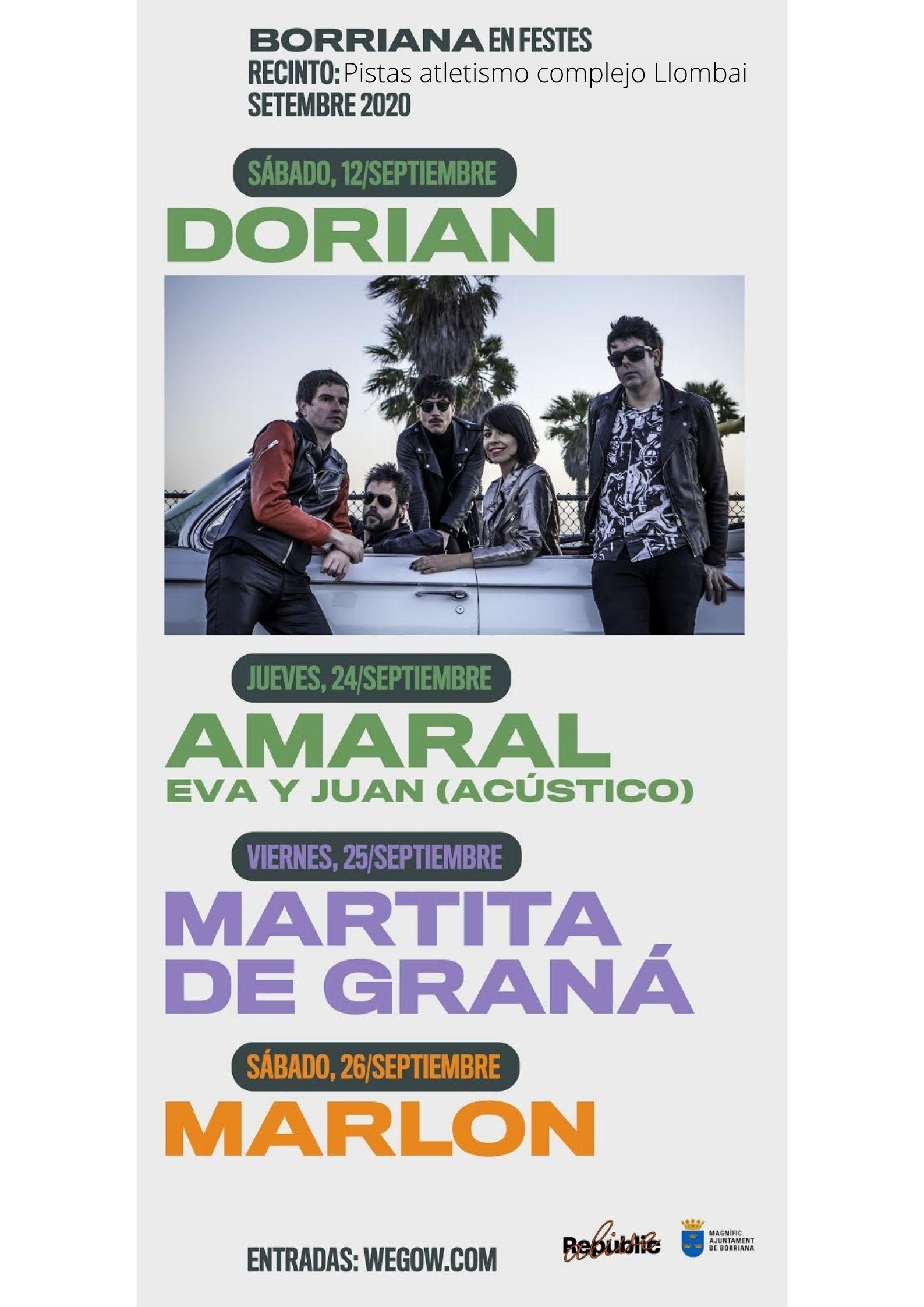 Sanidad autoriza un aforo de 800 personas para los conciertos de Amaral, Martita de Graná y Marlon en Borriana