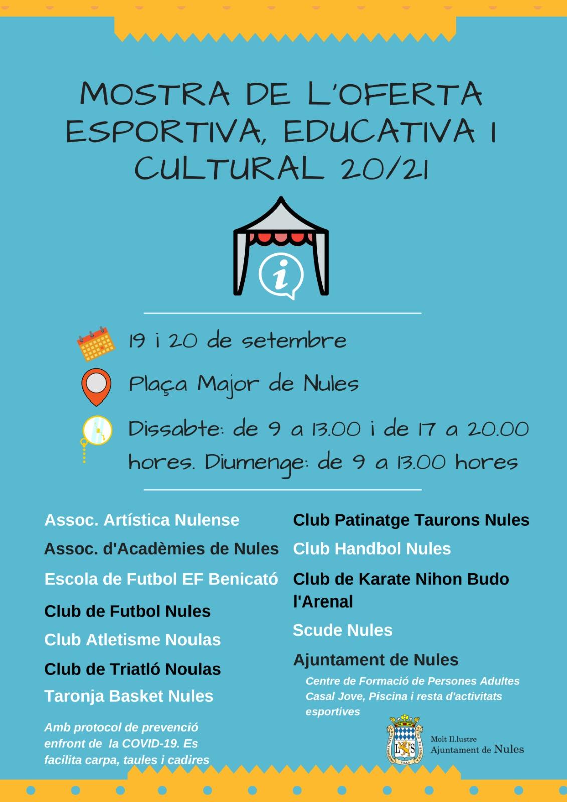 Una docena de entidades participarán en la muestra de servicios y actividades deportivas, educativas y culturales de Nules