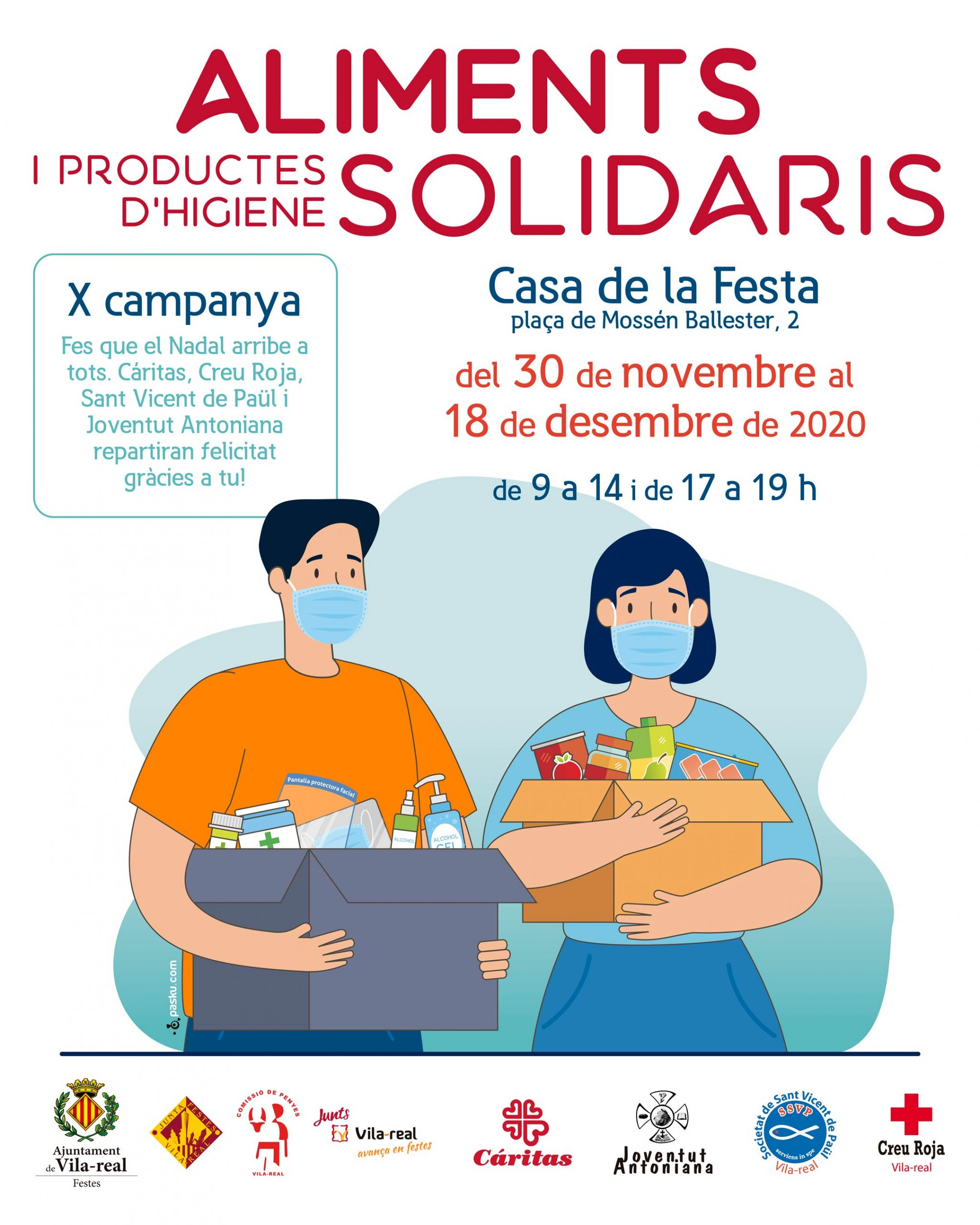 La Junta de Festes y la Comissió de Penyes adaptan la campaña solidaria de Navidad a la pandemia y recogerán comida y productos de higiene