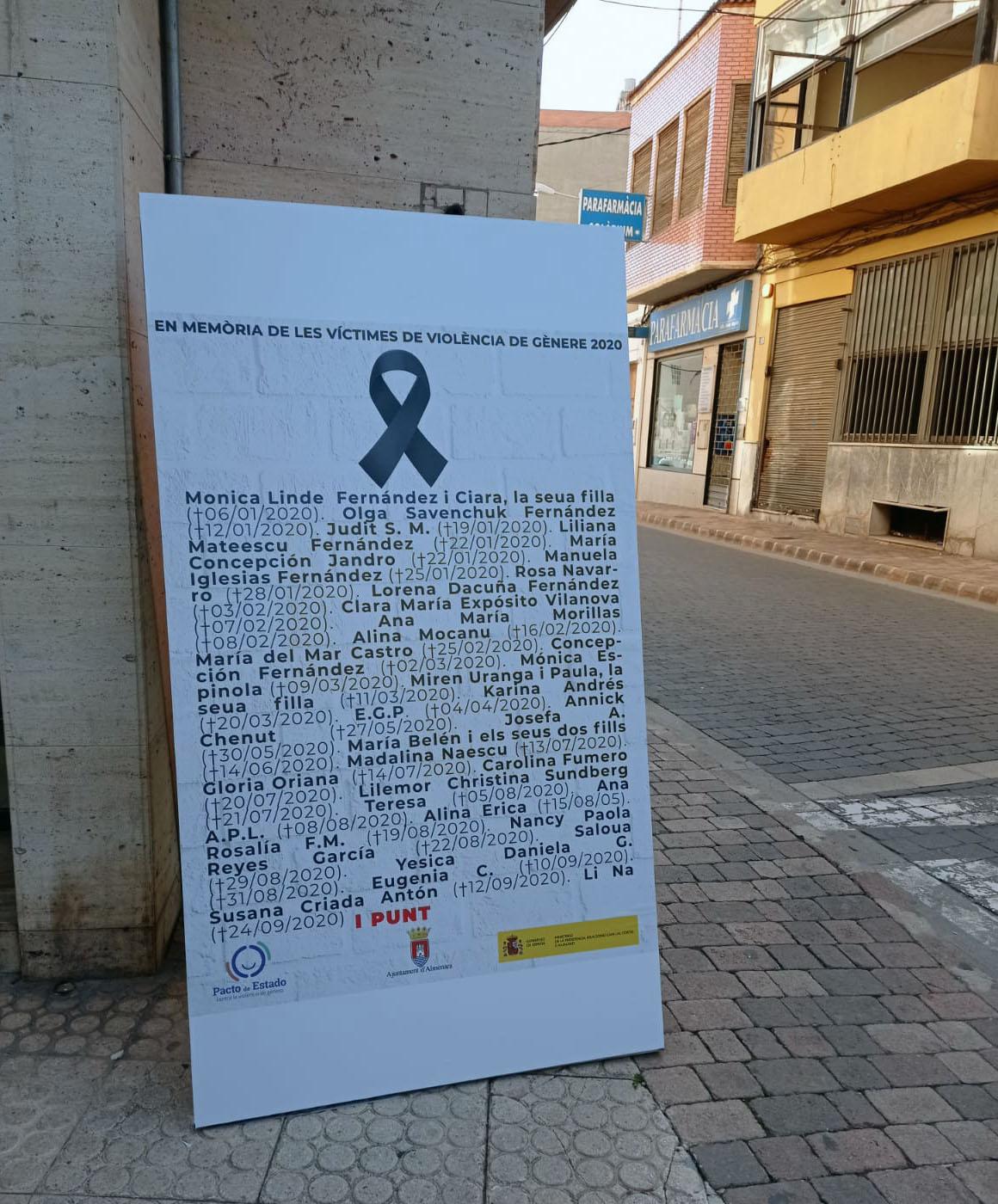 Almenara instala unos paneles con los nombres de las mujeres asesinadas por violencia de género