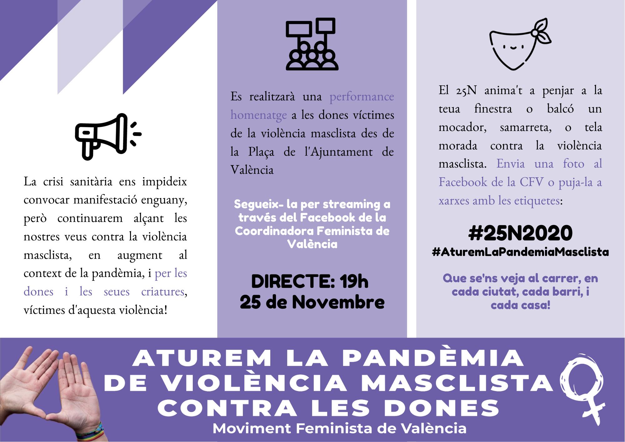 25N, Dia Internacional de l'Eliminació de la Violència contra les Dones. Manifest 2020