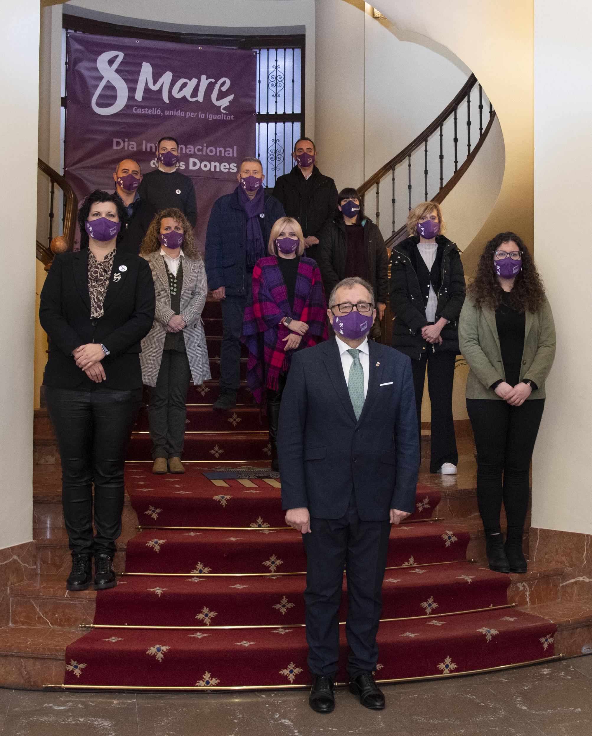 La Diputación de Castellón muestra unidad política en el 8M para reclamar una igualdad real y efectiva entre mujeres y hombres