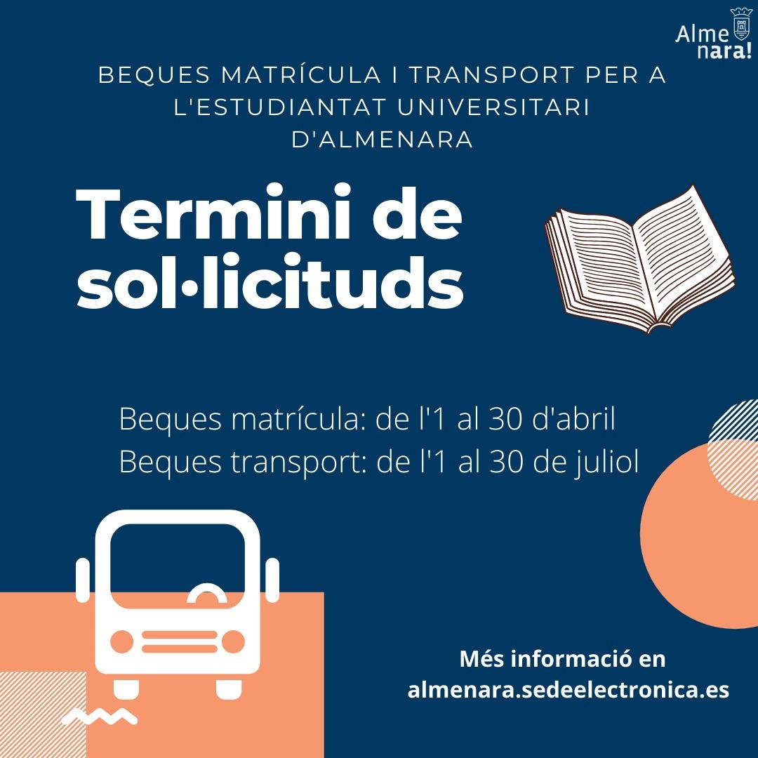 El Ayuntamiento de Almenara convoca las becas para matrícula y transporte destinadas a universitarios y universitarias
