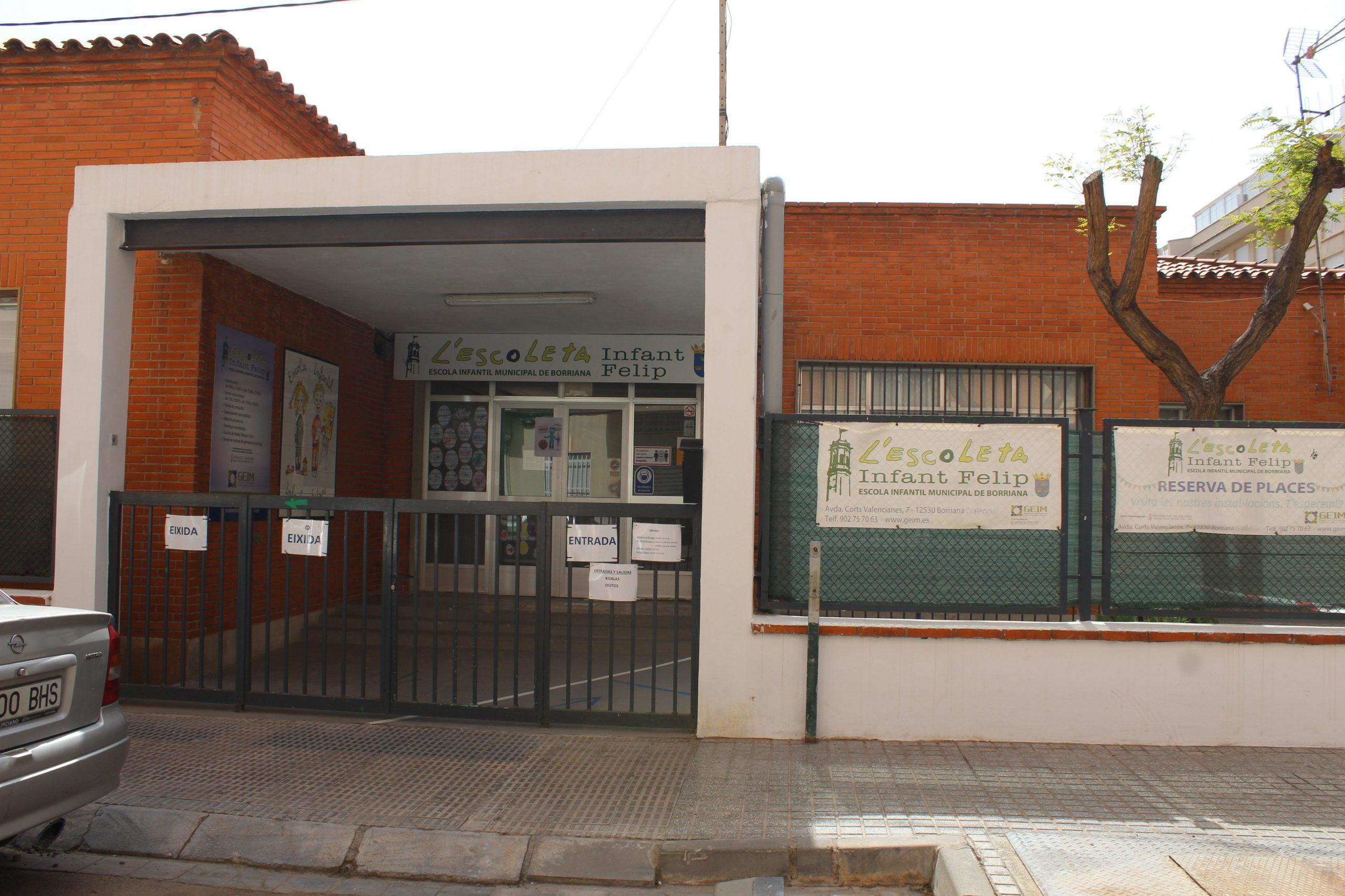 La Escuela Infantil Municipal de Borriana inicia el proceso de admisión para el curso escolar 2021-2022