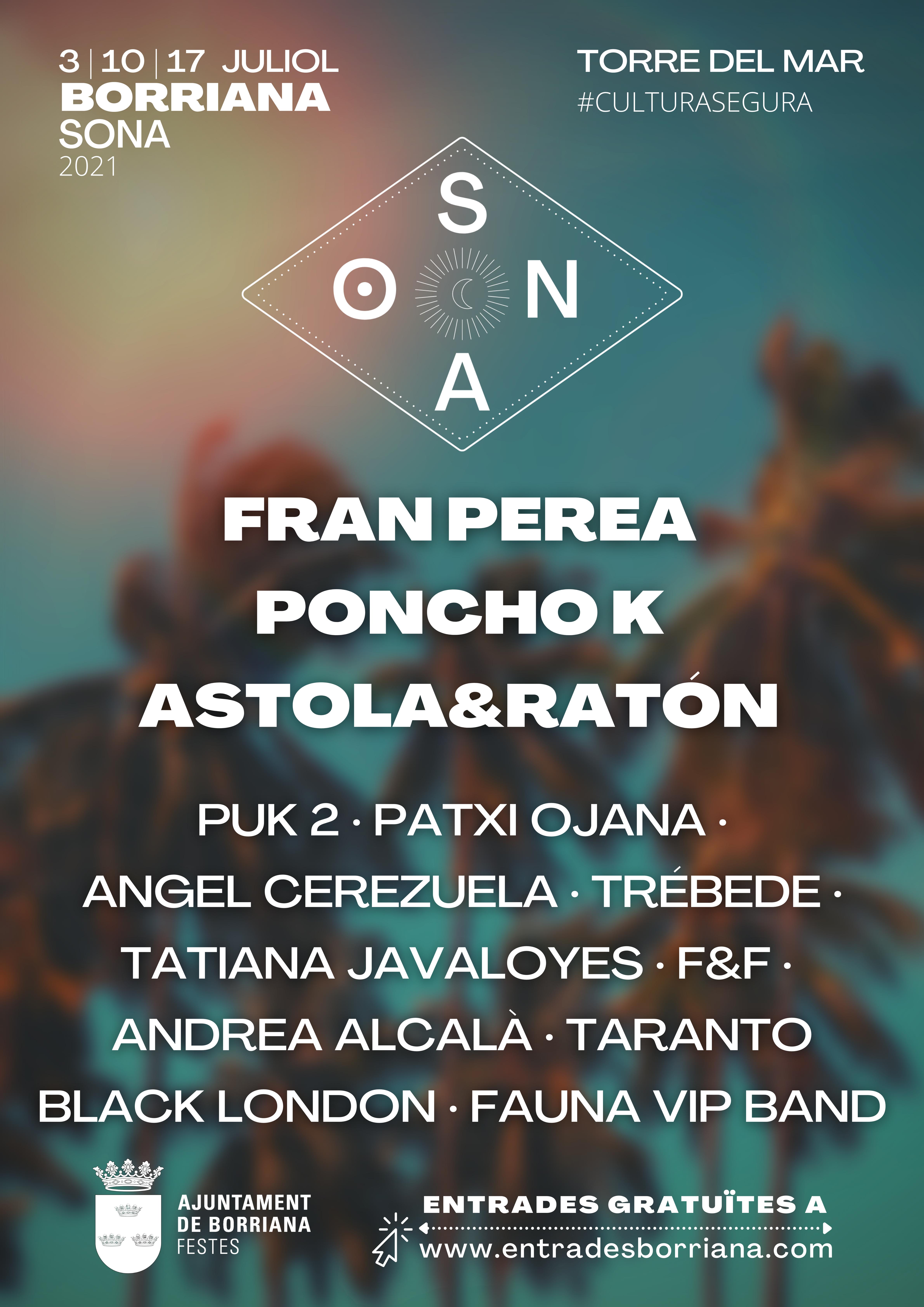 La primera edición del festival 'Borriana Sona' vibrará los sábados de julio en la Torre del Mar