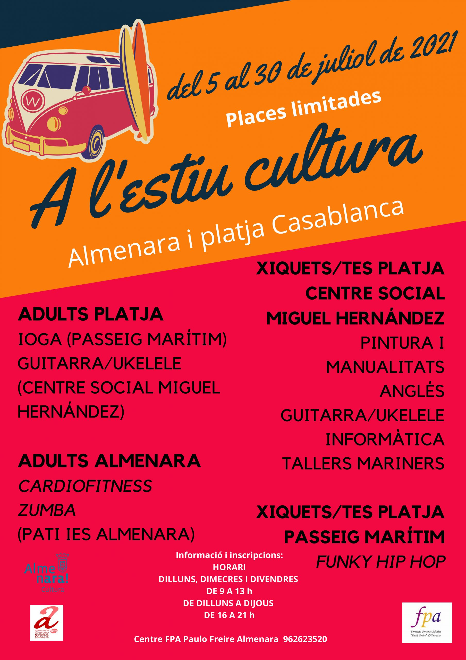 Almenara programa actividades, cursos y talleres para julio con el lema «A l'Estiu, cultura»