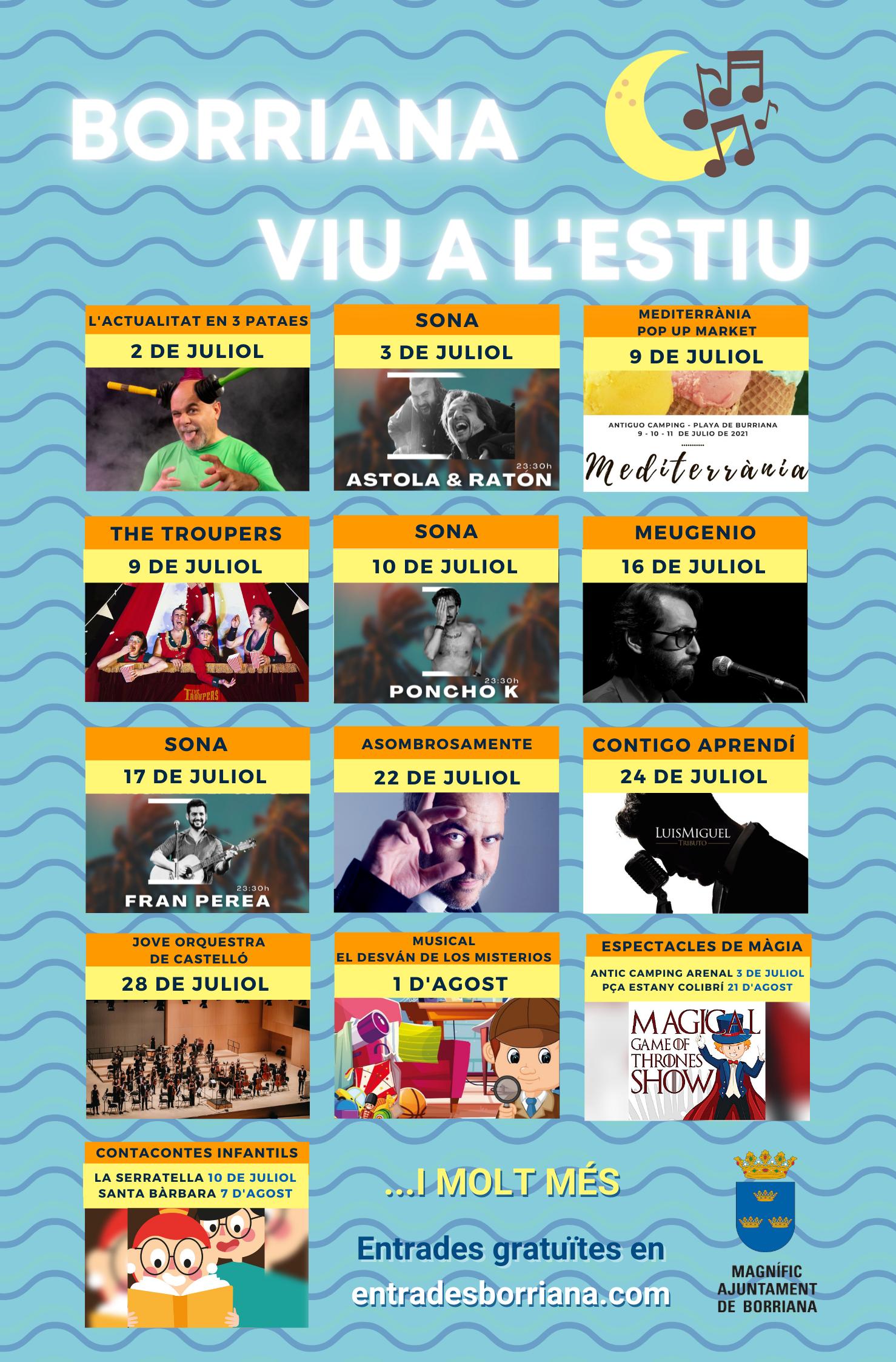 Comienza la programación de 'Borriana viu l'estiu' con  Xavi Castillo y la jornada más flamenca del Borriana Sona