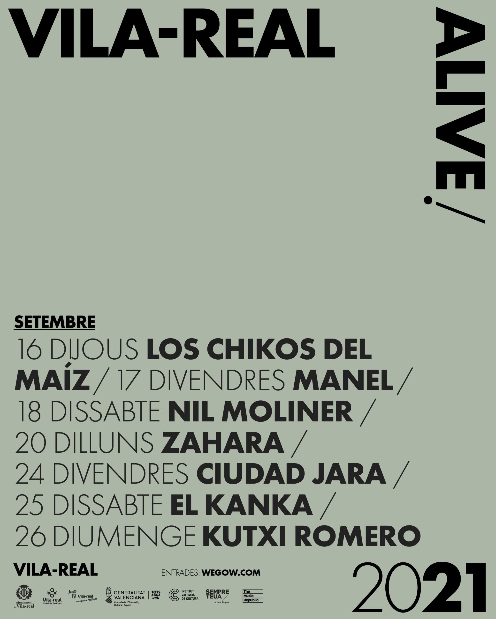 Vila-real Alive lanza su segunda edición como revulsivo cultural y económico, con los conciertos de Zahara, Manel, Nil Moliner, Los Chicos del Maíz, Ciudad Jara, El Kanka y Kutxi Romero
