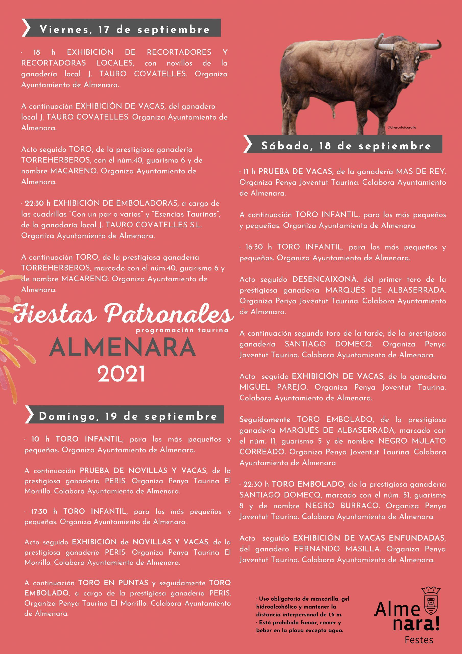 Almenara presenta el cartel de las exhibiciones taurinas de las fiestas patronales